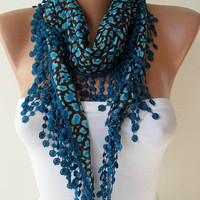 Dark Blue Scarf with Trim Edge by SwedishShop on Etsy