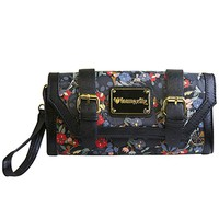 """Flower Skull"" Clutch by Loungefly (Black)"