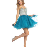 2014 Prom Dresses - Teal & Nude Tulle & Beaded Strapless Sweetheart Short Dress