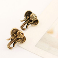 Elephant Vintage Fashion Earrings (Antique Gold)