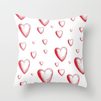 Lovely Hearts Throw Pillow by NisseDesigns