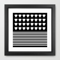 Heart Stripes White on Black Framed Art Print by Project M
