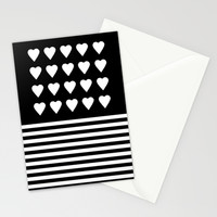 Heart Stripes White on Black Stationery Cards by Project M