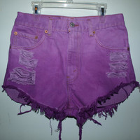 Destroyed Purple Ombre Vintage Levi&#x27;s 505 Denim Shorts by Azita001