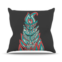 "Pom Graphic Design ""A Romantic Feather"" Red Teal Throw Pillow"