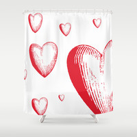 Lovely Hearts Shower Curtain by NisseDesigns