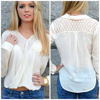 Prairie Grove Ivory Cross Over Blouse
