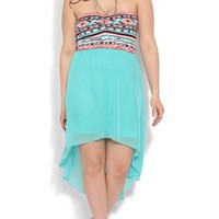 Plus Size High Low Dress with Tribal Bodice