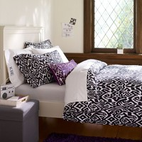 Urban Ikat Organic Duvet Cover + Pillowcases, Black