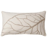 "Threshold™ Oblong Leaf Toss Pillow - Cream (15x27"")"