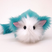 Kitty Cat Aqua Blue Stuffed Animal Plushie Toy - 5x8 Inches Medium Size