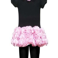 Rare Editions Girls Bonaz Rose Dress & Leggings Outfit, Black Pink , 2T - 6X
