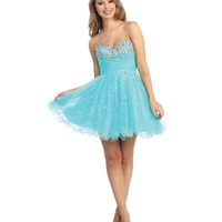 2014 Prom Dresses - Aqua Tulle & Beaded Strapless Short Dress