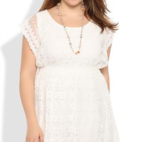Plus Size Daisy Lace Dress with Flutter Sleeves and A-Line Skirt
