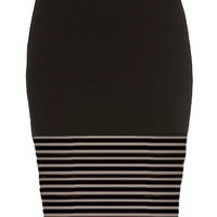 Pinstripe Mesh Skirt | Black Paneled Mesh Pencil Midi Skirts | Rickety Rack