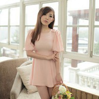 Sweet Bowknot On Shoulder Balloon Sleeve Short Dress Pink-Wholesale Women Fashion From Icanfashion.com