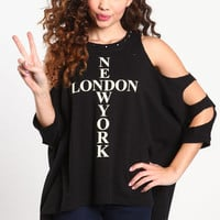 NEW YORK LONDON SHREDDED TOP