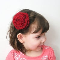 Blood Red Rose Crochet Hair Clip Barrette, ready to ship.