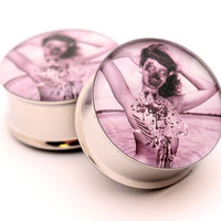 Zombie Pinup STYLE 3 Picture Plugs gauges - 16g, 14g, 12g, 10g, 8g, 6g, 4g, 2g, 0g, 00g, 7/16, 1/2, 9/16, 5/8, 3/4, 7/8, 1 inch