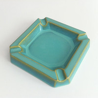 Mid Century Turquoise Ashtray by vintage19something on Etsy