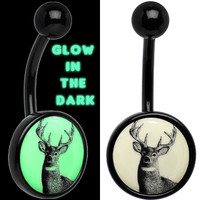 Glow in the Dark Titanium Deer Buck Belly Ring | Body Candy Body Jewelry
