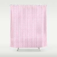 Herringbone Pink Shower Curtain by Project M