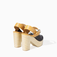 TWO-TONE LEATHER WEDGE