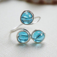 wire wrapped ring wire ring blue beaded by collscreations on Etsy