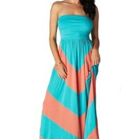 Charm Your Prince Women's Sleeveless Chevron Empire Maxi Dress Turquoise and Coral