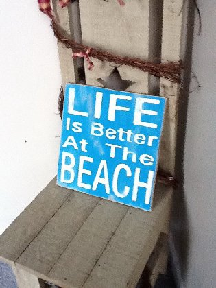 Life is Better At The Beach wooden primitive sign on Handmade Artists' Shop