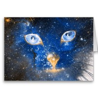 Beautiful Cosmic Kitty - Stars Greeting Card