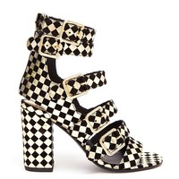 LAURENCE DACADE   Art Dana Harlequin Printed Leather and Suede Sanda   Browns fashion & designer clothes & clothing