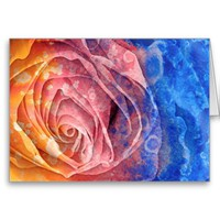 Pretty Rainbow Rose Greeting Card