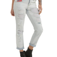 LOVEsick Light Wash Distressed Mesh Boyfriend Jeans