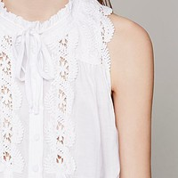 Free People Sleeveless Lace Inset Collar Buttondown