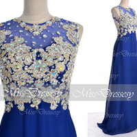 Royal Blue Prom Dresses, 2014 Prom Gown, Straps with Open Back Lace and Chiffon Long Royal Blue Prom Dresses, Royal Blue Formal Gown