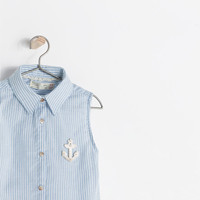 STRIPED SHIRT WITH ANCHOR APPLIQUÉ