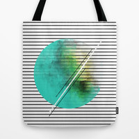 MINIMAL STRIPES SEA GREEN PAINT Tote Bag by Allyson Johnson