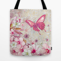 Whimsical Elegant Pink Flowers Butterfly Art Chic and Sophisticated Tote Bag by Megan Aroon Duncanson ~ MADART