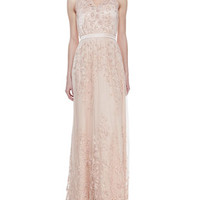 Catherine Deane Sleeveless Embroidered Applique Gown, Ballet Pink