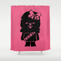 Baby Girl Wookie in Pink Graphic Shower Curtain by Zany Du Designs