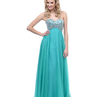 2014 Prom Dresses - Green Rhinestone & Sequin Sweetheart Chiffon Long Dress
