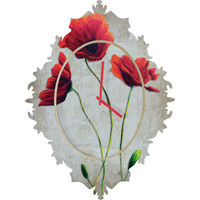 Madart Inc. Vibrant Poppies I Baroque Clock