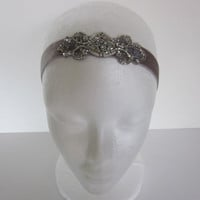 New Year's Silver Gatsby 1920s Headband Pearls Metallic Thread Art Deco Bridal 1920s Beaded Headpiece Gray velvet ribbon