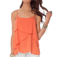 Two Tiered Tank Top in Pismo Coral :: tobi