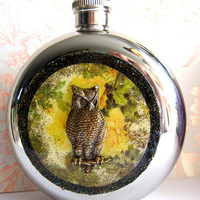 $64.99 Owl Flask Sunny Yellow Vintage Inspired by HarmlessHabit on Etsy