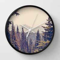 Mountains through the Trees Wall Clock by Kurt Rahn