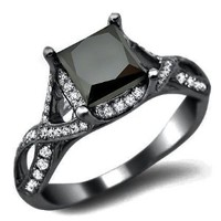 2.40ct Black Princess Cut Diamond Engagement Ring 18k Black Gold