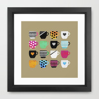 Coffee cup collection / 1 Framed Art Print by Elisabeth Fredriksson