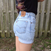High waisted shorts LEVIS denim shorts cuffed